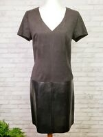 Laundry by Shelli Segal dress black faux leather and microsuede retro dress