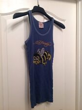 Womens ED HARDY Blue Graphic Tank Top Size 0/S