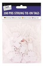 Sólo artículos de papelería-Etiqueta de tarjeta pre Encordada Blanco Equipaje Etiquetas-Medio X 200