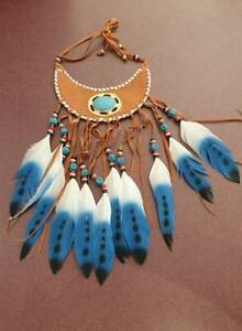 Native American Indian Feather and Turquoise Look Necklace