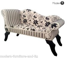 NEW CREAM AND BLACK FLORAL CHAISE LONGUE, CREAM BLACK RECEPTION CHAISE LONGUE,