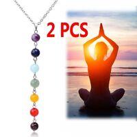 2Pcs 7 Chakra Beads Pendant Necklace Yoga Reiki Healing Balancing Necklaces