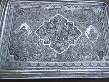 Magnificant Vintage Persian Solid Silver .875 Tray 822grams Signed marked 84