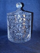 Nice Polonia 24% Lead Cut Crystal Biscuit Jar Canister Star Pinwheel Poland VGUC