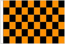 Orange And Black Check 5' x 3' Large Sleeved Flag