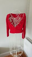 Images Red Ladies Short Jumper cardigan with beads. Buttoned. Uk Size 8