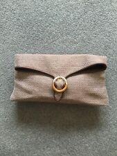 L K Bennett brown and cream clutch bag
