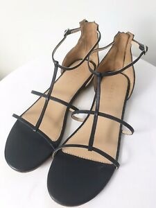 TRENERY Size 41 Navy Blue Leather Ankle Zipper Flat Formal/Casual Sandals