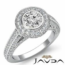 2.25ct Halo Pave Bezel Round Diamond Engagement Ring GIA F VVS2 14k White Gold