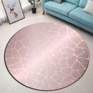 Abstract Rose Gold Kids Play Area Rugs Round Decor Carpet Room Floor Yoga Mat