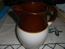 Vintage Clay Art Pottery Pitcher- Brown & Tan Bands