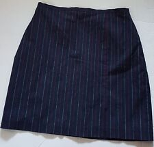 Formal Business Women's Skirt Casual Above Knee Navy Blue Red & White Stripe