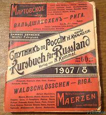 Winter 1907 1908 Russia Empire Train Timetable Russian & German N. Kymmel Riga