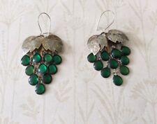 Vintage Silver Plated Emerald Bead Grape Design Earrings