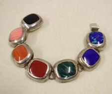 Bracelet Silver Sterling Coral Lapis Onyx Bracelet