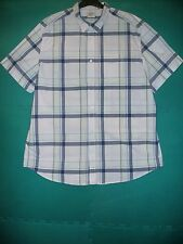 Men's Size XXL White/Navy Madras Check Cotton Short Sleeved Shirt by Old Navy