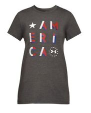 Under Armour 1305248019SM Freedom Womens Gray Short Sleeve America T-Shirt