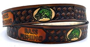 BASS FISHING ANGLER EMBOSSED TRUCKER COWHIDE LEATHER BELT SIZE 26-48 USA MADE