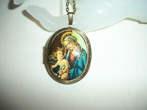 VIRGIN MARY & JESUS NECKLACE PENDANT 30x40mm RESIN CAMEO PICTURE LOCKET BRONZE
