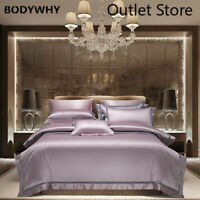 4Pcs Bedding Set 1400TC Egyptian Cotton Embroidery Bedsheet Set Duvet Cover