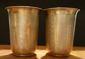 Old Blue Boxed Silver Stamped Pair of Beakers / Goblets