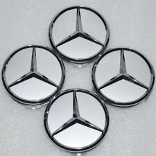4 X Mercedes Benz 75mm Centre Wheel Caps Alloy Chrome/Silver AMG/SL/C/E/S/A