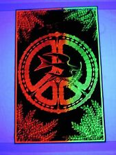 Vintage Blacklight PEACE SIGN DOVE Hippie Love 1960s Heavy Felt Poster