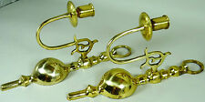 Wall Sconce Pair Candelabra Vintage Brass Candle Holder Heavy Hollywood Regency
