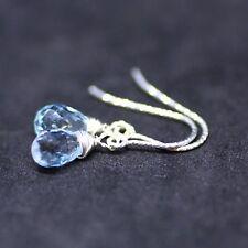 Natural Sky Blue Topaz Earrings Sterling Silver Sparkle Hooks December Birthston