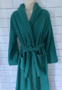 L.L. Bean Bathrobe Small Petite Green Fleece Wrap Robe Winter Tie Belt Pockets