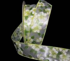 "5 Yards Spring Yellow Flowers Green White Satin Wired Ribbon 1 1/2""W"