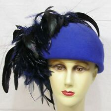 Vintage Ladies Hat Don Anderson Feathers Lots of Feathers ! Blue Felt 1970s