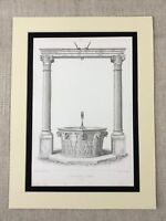 1857 Architectural Engraving Print Water Well Column Pillars Verona Renaissance