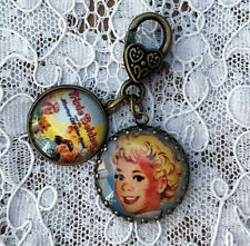 "TRIXIE BELDEN Glass Dome Charm Filigree 1"" ZIPPER PULL Key Ring VINTAGE BOOK ART"