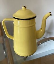 More details for 1950s coffee pot french enamel stove top lemon yellow country vintage retro old