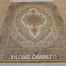 YILONG 6'x9' Hand Knotted Silk Persian Beige Rug Medium Furnishing Carpet 0259