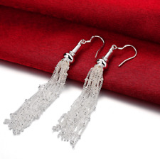 """Womens 925 Sterling Silver 3.4"""" Long Tassel Drop Dangle Fashion Earrings #E100"""