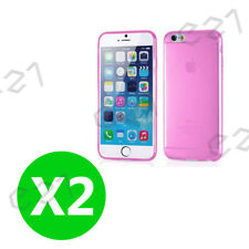 2PC Pink iPhone 6 / 6s Gel Case Cover Ultra Thin Full Body Case for Apple