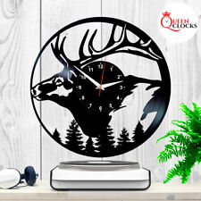 Wild Deer Horns Elk Hunting Gift for Man Vinyl Record Wall Clock Home Decor