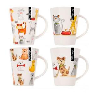 Set of 4 New Bone China Cats And Dogs Themed Mugs 13oz Perfect For Coffee & Tea