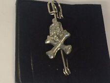"""Skull & Cross Bones TG513 Pewter Scarf and Kilt Pin Pewter 3"""" 7.5 cm"""
