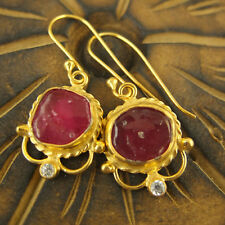 Handmade Turkish Rough Ruby Earrings W Zircon 24K Gold Over Sterling Silver