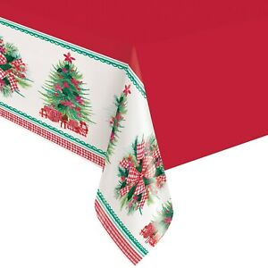 Pioneer Woman Holly & Bows Christmas Tree Plastic Party Tablecloth 2-Count