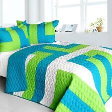 3 Pc Sofia Jannok Vermicelli blue green geometric Queen Quilt Shams