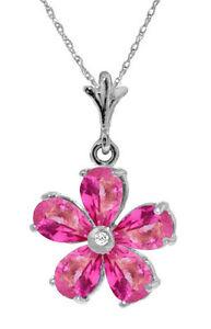 Genuine Pink Topaz Gemstones & Diamond Flower Pendant Necklace in 14K Solid Gold