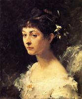 Oil painting John Singer Sargent - Female portrait Mary Turner Austin canvas