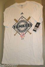 New York Yankees Adidas White Blue Baseball T-Shirt Boy's Youth Size XL (18) NWT