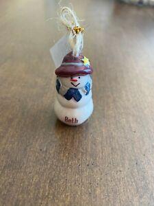 BETH Personalized Snowman Ornament GANZ