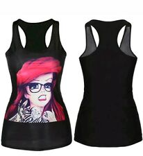 Disney Angst Glasses Tattoo Ariel Tank Top Racerback Singlet  Festival Party Gym