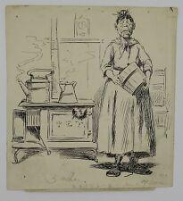 Antique 1886 Puck Magazine ink drawing original illustration art housewife